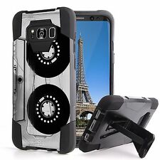 For Galaxy S8 ACTIVE Hybrid Rugged Kickstand Shock Case Old Cassette T