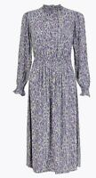 M&S Floral smock Waisted Midi Dress Size 18 Lilac Mix Bohemian new