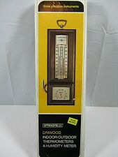 NEW Vtg Lynwood Springfield 552 Indoor Outdoor Wall Thermometer Humidity Meter