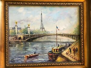 """Two Framed Original Oil on Canvas Paris Scenes, Signed, 14 x 12"""""""