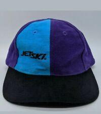 vtg JET SKI Embroidered Logo Hat Color Block Panel Strapback Cap Purple Teal
