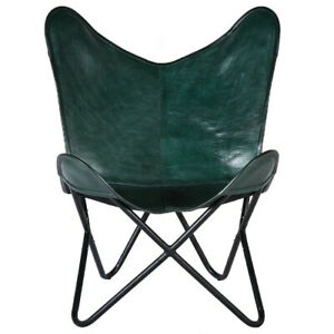 Leather Butterfly Chair Handcrafted Real Premium Leather green chair