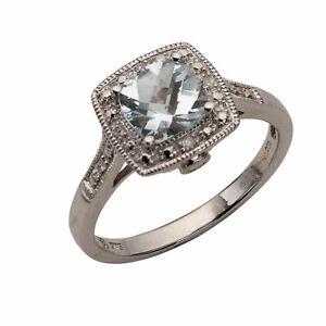 H Samuel 9ct White Gold Aquamarine & Diamond Ring Size K 2.6g