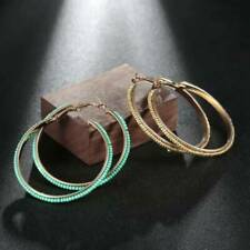 New Bohemian Big Circle Round Beaded Hoop Earrings Party Jewelry Ear Studs N3