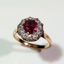 Antique Vivid Natural Unheated Red Ruby Diamond Engagement Ring Victorian 18K