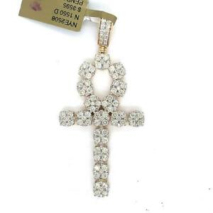4.00 TCW Diamonds Ankh Key Of Life Egyptian Cross Pendant In 14k Yellow Gold