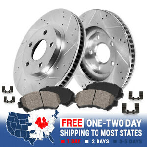 For Mercedes-Benz C300 C350e Front Drilled Slotted Brake Rotors & Ceramic Pads