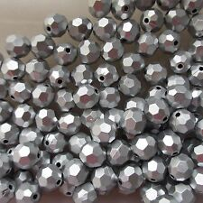 200 10mm Faceted Acrylic Silver Round Beads, For Jewellery and Craft Making