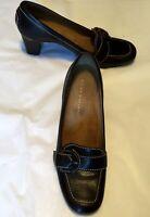 "Antonio Melani Women's Shoes Brown Leather white Stitching 2.5"" Heel Size 9.5M"
