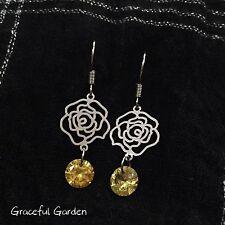 Graceful Garden Rhodium Plated Thin Filigree Rose Yellow Cubic Zirconia Earrings