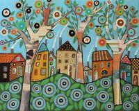 Merry Village 16 x 20 ORIG Mixed Media CANVAS PAINTING Folk Art Karla Gerard