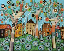 Merry Village 16 x 20 ORIG Mixed Media CANVAS PAINTING Folk Art Karla Gerard
