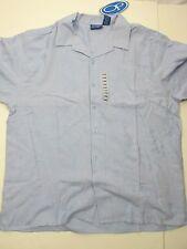 O P Blue Cotton Rayon Button Front Hawaiian Shirt Flower Print  NEW  Men's XL HA