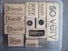 So Very Set of 8 Stampin Up Rubber Stamps Family Friends Thanks Blessed