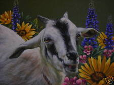 ACEO Goat Kid Farm animal Wildflower landscape print