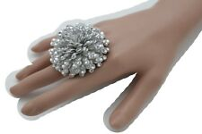Women Metallic Silver Bling Hip Hop Sexy Fashion Pom Pom Ring Jewelry One Size