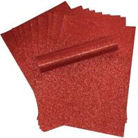 Red Glitter Card A4 Sparkly Soft Touch Virtually Non Shed 250gsm Pack of 10