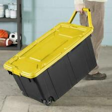 2 PACK Sterilite Latch Tote Storage Container 40 Gallon Wheeled Industrial Case
