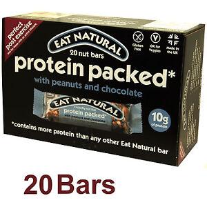 Eat Natural 20 Peanut / Chocolate Bars Protein & High Fibre Gluten Free