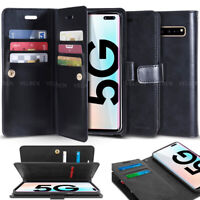 Double Rugged Wallet Flip Holder Case Cover for Samsung Note 10+ 5G / APPLE / LG