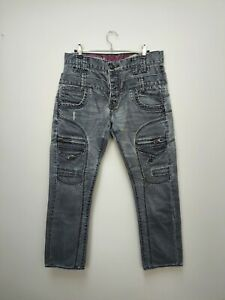 Vintage 90's POLICE 883 Button Fly Jeans with Motif - W 30 X L 32 - Grey Jeans