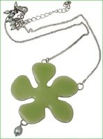 NEW PILGRIM SILVER PLATED NECKLACE GREEN ENAMEL BIG FLOWER Pendant & PEARLS