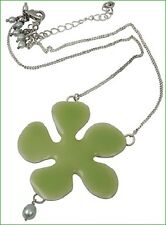 NEW PILGRIM SILVER PLATED CHAIN NECKLACE GREEN ENAMEL BIG FLOWER PENDANT PEARLS