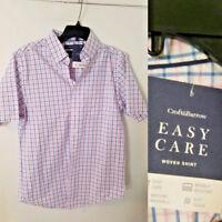 Mens Shirt Button Front Short Sleeve S SMALL Pink Blue Plaid CROFT & BARROW