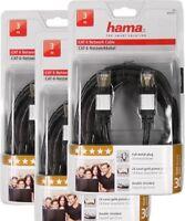 3 Stück Hama CAT6 LAN Netzwerk DSL Kabel 3 Meter Netzwerkkabel STP 1000 Mbit/s