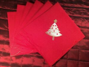 Set of 6 Napkins Red Poly/Cotton Fabric with Embroidered Xmas Tree and Edge 44cm