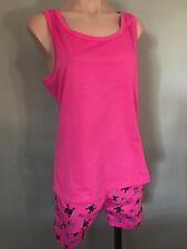 BNWT Girls Sz 10 Pink Skulls Short Summer Racer Back Style Stretch PJ Pyjamas