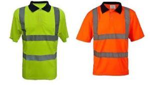 HI VIZ  POLO T SHIRT REFLECTIVE TAPE SAFETY WORK WEAR VIS PPE BS EN471 SITE WORK