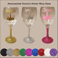 Personalised Glitter Unicorn Wine Glass - birthday day present, christmas gift
