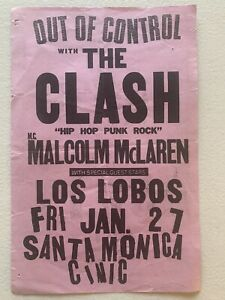 The CLASH 1984 Punk Flyer - Los Angels, Out Of Control
