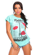 Womens Casual T-Shirt Paris Print Short Sleeve 100% Cotton Top Size 12-14 FB264A