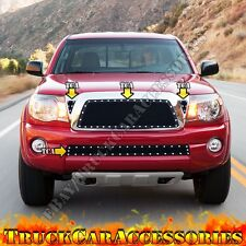 For TOYOTA Tacoma 05-10 Black Mesh Rivet Grille OVERLAY Combo 3PC Top+1PC Bumper