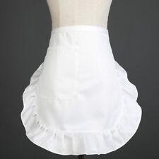 Ladies Half Short Apron With Pocket Solid Ruffle Catering Bars Waitress Uniform