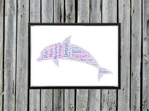 Personalised A4 Word Art Dolphin Present Holiday Gift Photo Picture Print Image