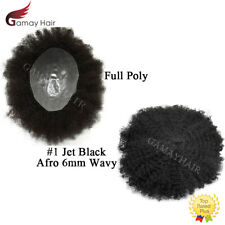 Afro Curly Mens Toupee Full Poly African American Hairpieces PAPY Skin Jet Black