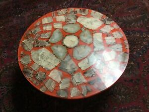 MID CENTURY MODERN SHELLACKED GEODE ORANGE ROUND COFFEE TABLE VTG RARE 30 X 13""