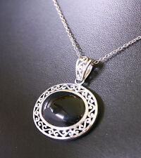 """Sterling silver filigree oval pendant on Italy 925 18"""" chain. Onyx or glass cab"""