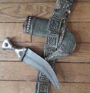 ancien couteau ethnique jambiya sultana d'oman / yemen avec ceinture