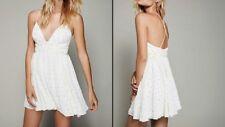 Free People Party Lurex Dot Mini Dress Ivory Sliver Flowy Strappy Size 2 $250