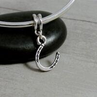 Silver Lucky Horseshoe Dangle Bead Charm - fits European Bracelets NEW
