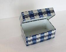 Vintage Recipe Tin Box Hinged Metal Blue Black Plaid Syndicate Storage Kitchen