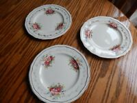 3 x Vintage Large Side Plate ~ J Fryer & Son ~ England ~ Floral and Gold Decor
