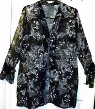 NEW QUALITY BLACK & GREY CHIFFON TOP ~  BEACH  COVER UP SIZE 18  # 495