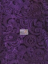 FUTURE PAISLEY EMBOSSED STRETCH VELVET FABRIC - Purple - DECOR APPAREL BY YARD