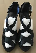Gorgeous ALDO Black Strappy Open Toe Platform Stiletto Heels Size 39