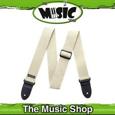 "New Dunlop Natural Coloured Cotton Guitar Strap w Leather Ends - 2"" Wide - D21N"